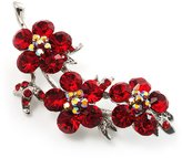 Avalaya Swarovski Crystal Floral Brooch (Silver& Bright Red)