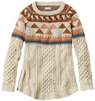 L.L. Bean Women's Signature Cotton Fisherman Tunic Sweater, Fair Isle