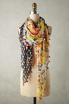 Anthropologie Silk Checkered Floral Scarf