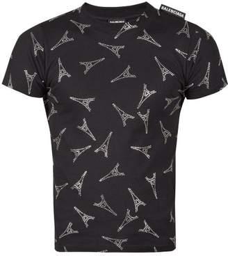 Balenciaga Eiffel Tower Crystal Embellished T Shirt - Mens - Black