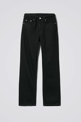 Weekday Voyage High Straight Jeans - Black