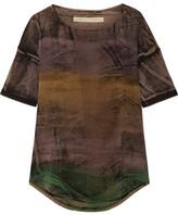 Raquel Allegra Distressed Tie-dyed Stretch Cotton-blend T-shirt - Brown