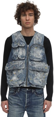 Jaded London Splatter Painted Denim Vest W/ Pockets