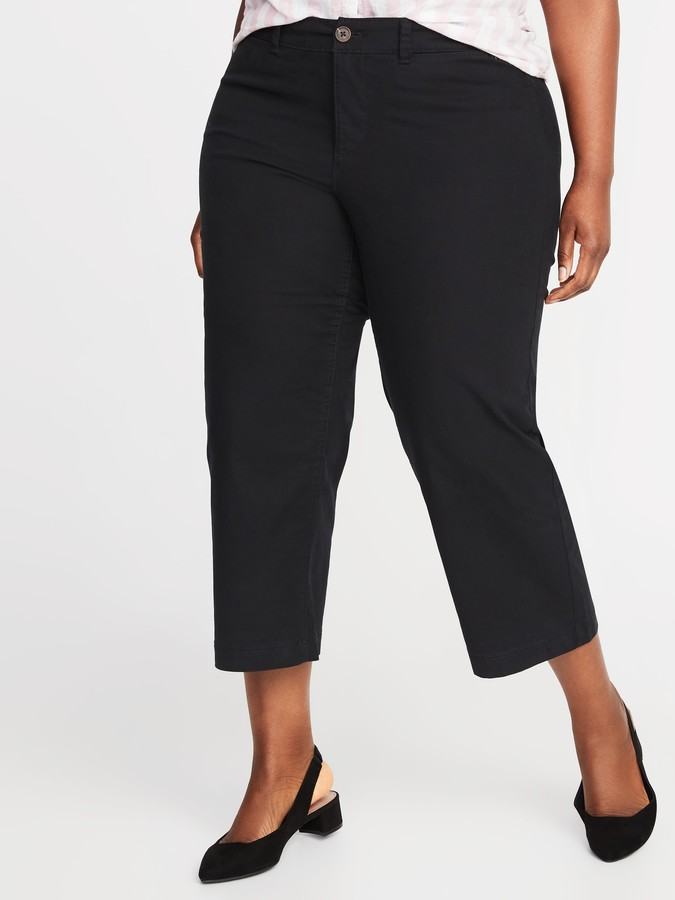 Old Navy High-Waisted Secret-Slim Pockets Plus-Size Wide-Leg Chinos
