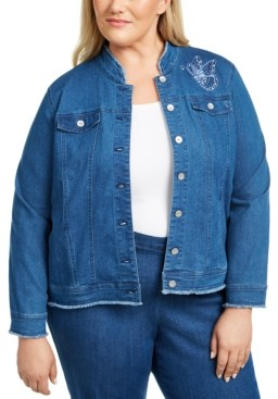Alfred Dunner Plus Size Pearls of Wisdom Embroidered Denim Jacket