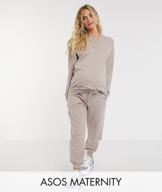 ASOS DESIGN Maternity tracksuit ultimate sweat / jogger with tie in organic cotton in stone