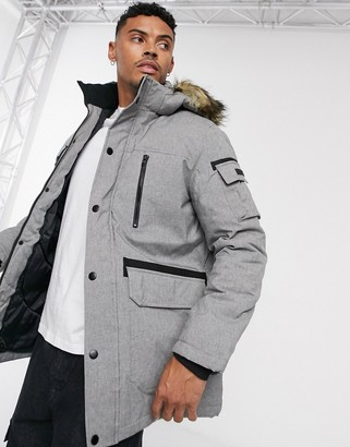 Jack and Jones Core parka with removable faux fur hood-Grey