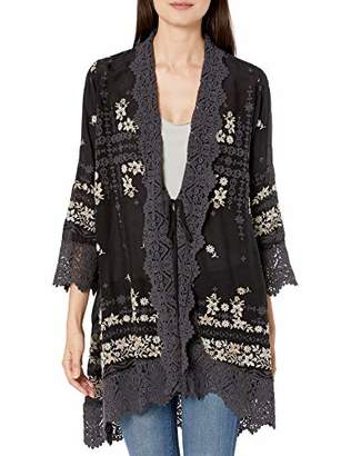 Johnny Was Women's Rayon Embroidered Cardigan with Eyelet and lace Detail