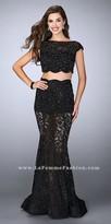 La Femme Scalloped Lace Two Piece Mermaid Prom Dress