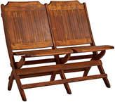 Rejuvenation Slatted Tandem Folding Chairs w/ Weathered Finish