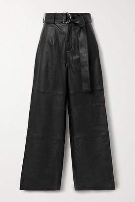 Deadwood Poppy Leather Wide-leg Pants - Black