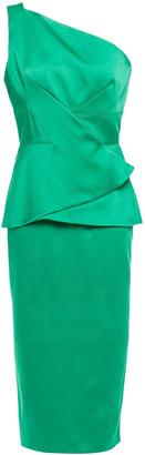 Roland Mouret One-shoulder Satin Peplum Dress