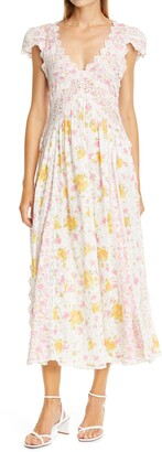 LoveShackFancy Archer Floral Print Maxi Dress