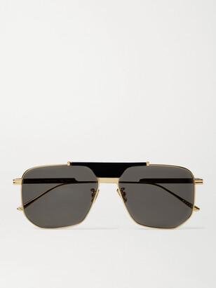 Bottega Veneta Caravan Aviator-Style Gold-Tone Metal And Acetate Sunglasses