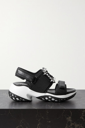 Roger Vivier Viv Run Crystal-embellished Mesh And Leather Sandals - Black