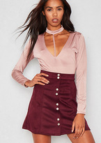 Missy Empire Kendra Wine Faux Suede Button Up Mini Skirt