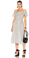 Lisa Marie Fernandez Mira Button Down Sheer Dress in Geometric Print,White.