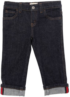 Gucci Stretch Cotton Denim Jeans W/ Web Detail