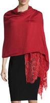 Valentino Woven Lace-Trim Shawl, Wine