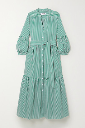Cefinn Alice Belted Striped Cotton-poplin Midi Dress - Green
