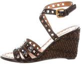 Prada Laser Cut Wedge Sandals
