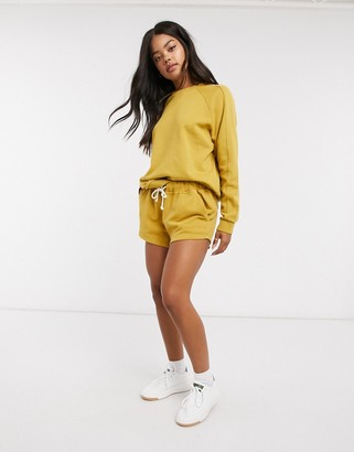 Rip Curl organic co-ord fleece short in gold