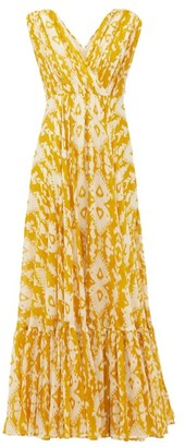 Mes Demoiselles Samarcande Ikat-print Cotton-voile Dress - Yellow Print