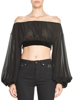 Saint Laurent Sheer Silk Peasant Crop Top with Velvet Trim, Black