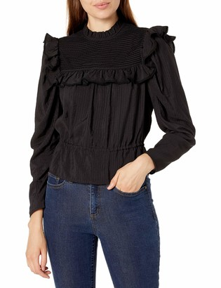 ASTR the Label Women's Alcott Pleated High Neck Long Sleeve Peplum Top