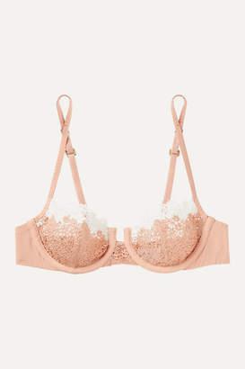 La Perla Agnese Macrame And Stretch-silk Underwired Soft-cup Bra - Blush