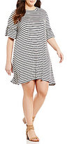 Moa Moa Plus Bell Sleeve Striped Dress