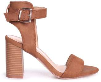 Linzi Kerry Tan Suede Open Toe Stacked Block Heels With Ankle Straps