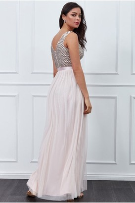 Goddiva Blush Sequin Bodice Pleated Maxi Dress