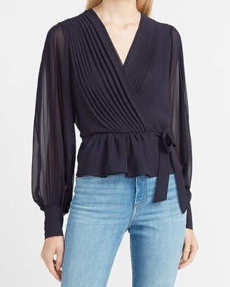 Express Pleated Wrap Front Side Tie Peplum Top