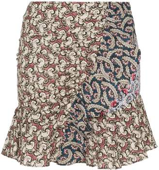 Etoile Isabel Marant Printed ruffle detail cotton mini skirt