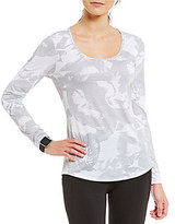 Lucy Jewel Neck Long Sleeve Printed Workout Tee