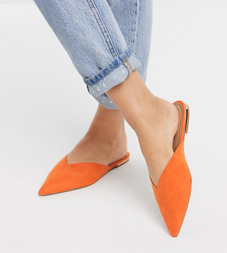 ASOS DESIGN Wide Fit Lou pointed mules in orange