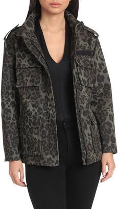 AVEC LES FILLES Leopard Cotton Cargo Rain Jacket