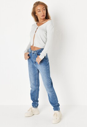 Missguided Mint Knit Pearl Front Skinny Cardigan