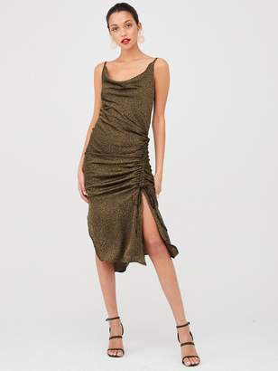 AX Paris Ruched Satin Dress - Khaki