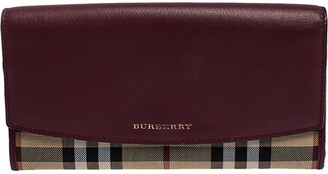 Burberry Burgundy/Beige House Check Canvas and Leather Continental Wallet