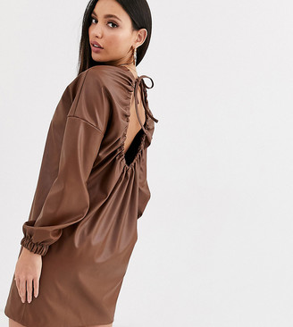Asos Tall DESIGN Tall leather look open back sweat dress-Beige