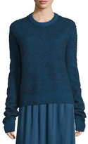 The Row Rienda Extended-Sleeve Distressed Sweater, Dark Sapphire