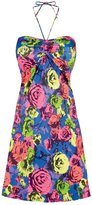 Freya Floral Pop Bandeau Lycra Beach Dress in Rainbow