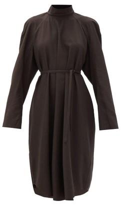 Lemaire High-neck Wool-blend Dress - Dark Brown