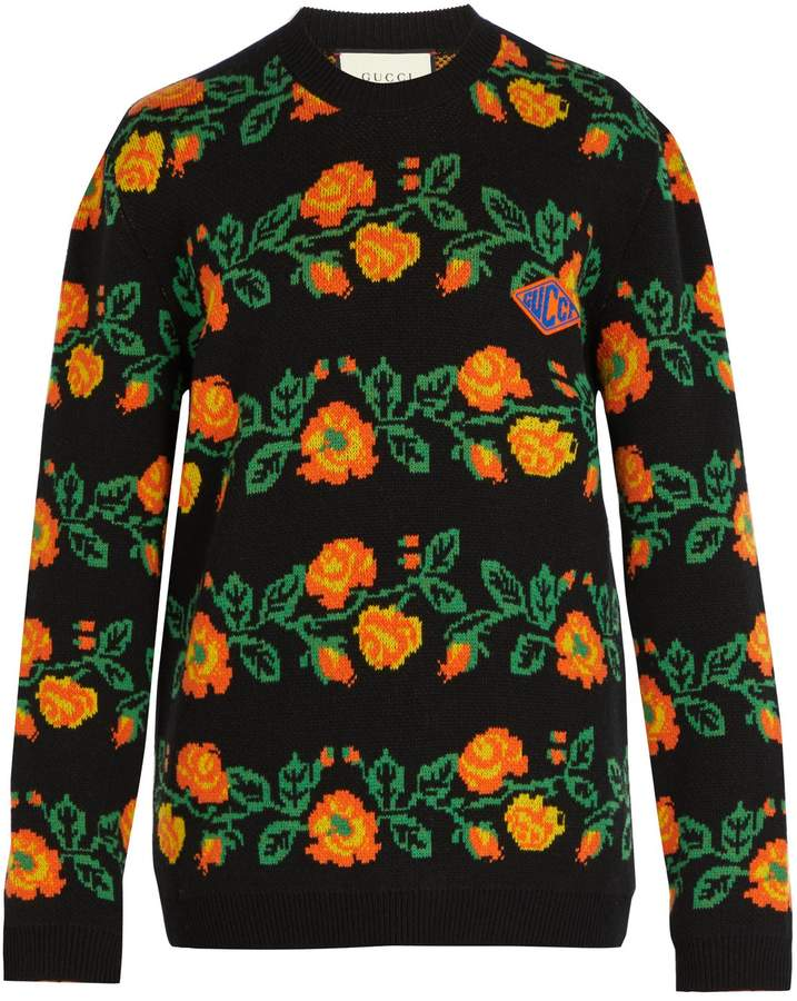 Gucci Floral crew-neck logo-patch sweater