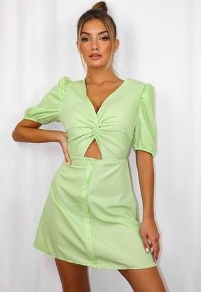 Missguided Green Poplin Knot Front Mini Dress