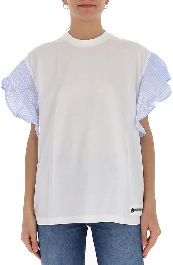 Burberry Ruffled Sleeve Oversized T-Shirt