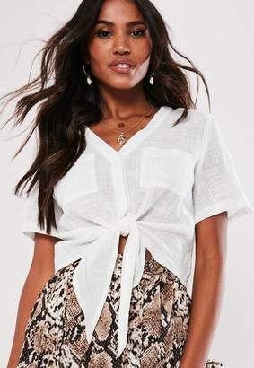 Missguided White Tie Front Shirt