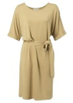 Ya-Ya Ocher Jersey Pleated Midi Dress with Folded Cuffs - ocher   small - Ocher